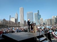 CHICAGO, ILLINOIS - MARCH 07: Democratic presidential candidate Sen. Bernie Sanders (I-VT) speaks to a crowd gathered for a campaign rally in Grant Park on March 07, 2020 in Chicago, Illinois. The Illinois primary will be held on March 17. (Photo by Scott Olson/Getty Images)