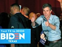 Former Texas Rep. Beto O'Rourke gestures after endorsing Democratic presidential candidate former Vice President Joe Biden at a campaign rally Monday, March 2, 2020 in Dallas. (AP Photo/Richard W. Rodriguez)