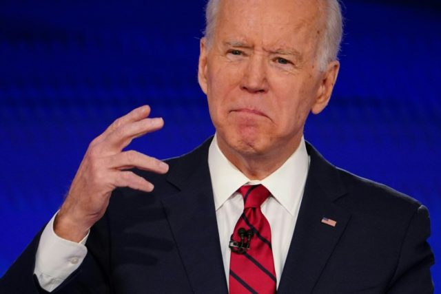 Democratic presidential hopeful former US vice president Joe Biden makes a point as he and Senator Bernie Sanders take part in the 11th Democratic Party 2020 presidential debate in a CNN Washington Bureau studio in Washington, DC on March 15, 2020. (Photo by Mandel NGAN / AFP) (Photo by MANDEL …