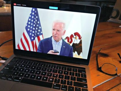 CHICAGO, ILLINOIS - MARCH 13: Vice President Joe Biden holds a virtual campaign event on March 13, 2020 in Chicago, Illinois. The scheduled in-person Illinois campaign event was changed to a virtual event because of fears of COVID-19. (Photo by Scott Olson/Getty Images)