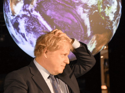 LONDON, ENGLAND - FEBRUARY 04: Prime minister Boris Johnson attends the launch of the UK-hosted COP26 UN Climate Summit, being held in partnership with Italy this autumn in Glasgow, at the Science Museum on February 4, 2020 in London, England. Johnson will reiterate the government's commitment to net zero by …