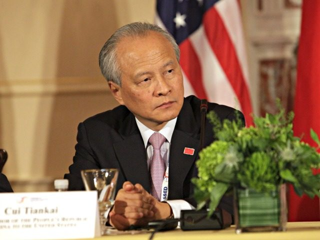 Cui Tiankai, Chinas Ambassador to the US participates in the Plenary Session of the US-China Consultation on People-to-People Exchange during the seventh US-China Strategic and Economic Dialogue at the US State Department in Washington DC, June 24, 2015. The United States and China vowed to avoid confrontation as they headed …