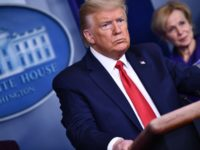 US President Donald Trump listens to a question during the daily briefing on the novel coronavirus, COVID-19, at the White House on March 18, 2020, in Washington, DC. - Trump ordered the suspension of evictions and mortgage foreclosures for six weeks as part of the government effort to ease the …