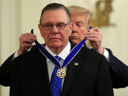 President Donald Trump presents the Presidential Medal of Freedom to former Vice Chief of Staff Army Gen. Jack Keane in the East Room of the White House in Washington, Tuesday, March 10, 2020. (AP Photo/Manuel Balce Ceneta)