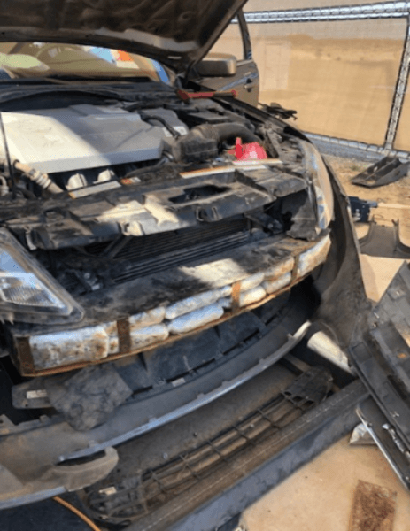 El Centro Sector Border Patrol agents find 22 packages of methamphetamine inside the front bumper of a Ford Fusion at an interior immigration checkpoint. (Photo: U.S. Border Patrol/El Centro Sector)