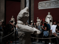 People walk through the Vatican Museums on September 01, 2018 in Vatican City, Vatican. Tensions in the Vatican are high following accusations that Pope Francis covered up for an American ex-cardinal accused of sexual misconduct. Archbishop Carlo Maria Vigano, a member of the conservative movement in the church, made the …
