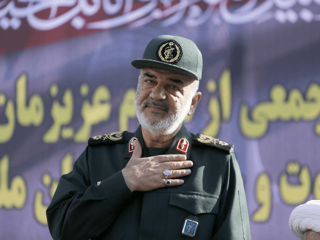 Hossein Salami deputy commander of the Islamic Revolutionary Guard Corps attends a public funeral ceremony for those killed during an attack on a military parade on the weekend, in the southwestern Iranian city of Ahvaz on September 24, 2018. - Four militants attacked a Saturday parade marking the start of …