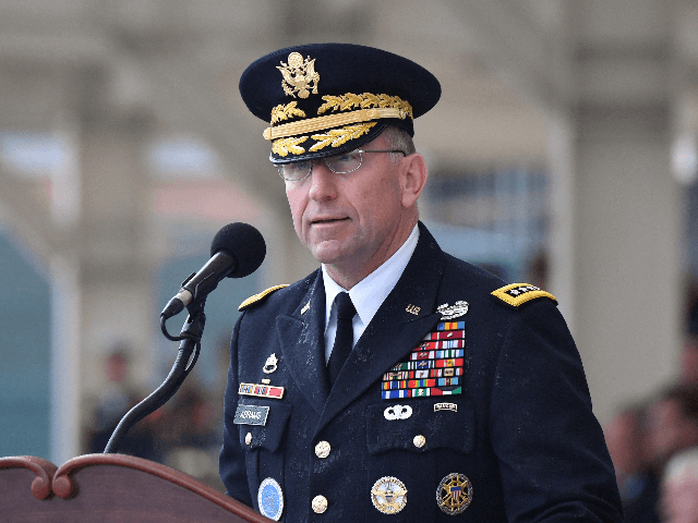 Incoming commander General Robert B. Abrams speaks during a change of command ceremony for the United Nations Command, Combined Forces Command, and United States Forces Korea at Camp Humphreys in Pyeongtaek on November 8, 2018. - The outgoing commander of US forces in South Korea on November 8 urged Seoul …
