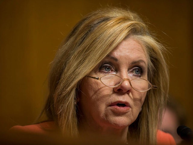 WASHINGTON, DC - FEBRUARY 05: Sen. Marsha Blackburn (R-TN) speaks during a Senate Judiciary confirmation hearing for Aditya Bamzai and Travis LeBlanc to be members of the Privacy and Civil Liberties Oversight Board on Capitol Hill on February 5, 2019 in Washington, DC. (Photo by Zach Gibson/Getty Images)