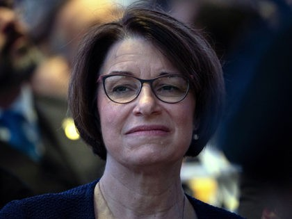 US Senator Amy Klobuchar listens during the National Prayer Breakfast on February 7, 2019 in Washington, DC. (Photo by Brendan Smialowski / AFP) (Photo by BRENDAN SMIALOWSKI/AFP via Getty Images)