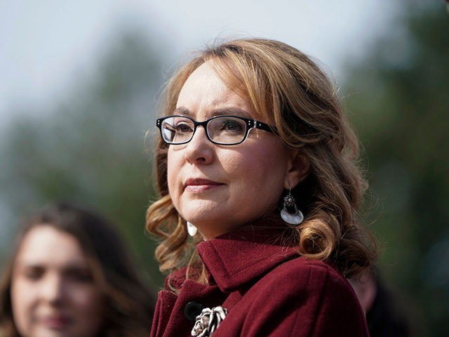 WASHINGTON, DC - FEBRUARY 26: Former Rep. Gabby Giffords (D-AZ) listens as Democratic lawmakers speak in support gun background checks legislation bill H.R. 8 on Capitol Hill on February 26, 2019 in Washington, DC. (Photo by Joshua Roberts/Getty Images)