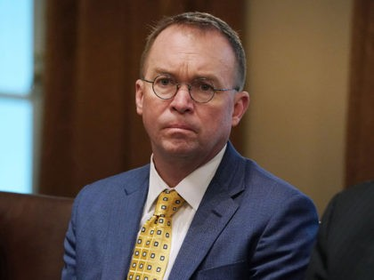 WASHINGTON, DC - APRIL 02: Acting White House Chief of Staff Mick Mulvaney attends a bilateral meeting with President Donald Trump and NATO Secretary General Jens Stoltenberg in the Cabinet Room at the White House April 02, 2019 in Washington, DC. On the 70th anniversary of NATO, Trump and Stoltenberg …