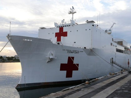 MIAMI, FL - JUNE 18: The U.S. Navy hospital ship USNS Comfort is shown docked at the Port of Miami prior to a tour of the vessel by U.S. Vice President Mike Pence on June 18, 2019 in Miami, Florida. The ship is set to depart on a medical assistance …