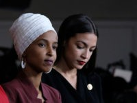 WASHINGTON, DC - JULY 15: (L-R) U.S. Reps. Ayanna Pressley (D-MA), Ilhan Omar (D-MN) and Alexandria Ocasio-Cortez (D-NY) listen during a news conference at the U.S. Capitol on July 15, 2019 in Washington, D.C. President Donald Trump stepped up attacks on the four progressive Democratic congresswomen, saying that if they're …
