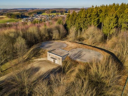 Aerial view of a bunker with helipad in Marienheide - Kalsbach.