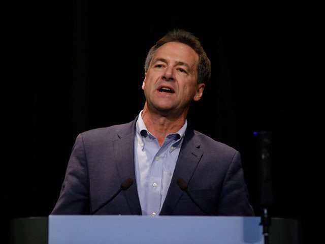 ALTOONA, IA - AUGUST 21: Presidential candidate, Governor of Montana, Steve Bullock speaks at the Iowa Federation Labor Convention on August 21, 2019 in Altoona, Iowa. Candidates had 10 minutes each to address union members during the convention. The 2020 Democratic presidential Iowa caucuses will take place on Monday, February …