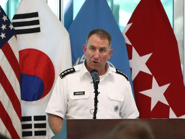 PANMUNJOM, SOUTH KOREA - JULY 27: Commander of the United Nations Command (UNC), Combined Forces Command (CFC), and United States Forces Korea (USFK), U.S. Gen. Robert Abrams speaks during a ceremony to commemorate the 66th Anniversary of the Korean War armistice agreement on July 27, 2019 in Panmunjom, South Korea. …