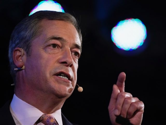 LONDON, ENGLAND - SEPTEMBER 27: Leader of the Brexit Party, Nigel Farage addresses the audience during the final event of the Brexit Party Conference Tour at The Emmanuel Centre on September 27, 2019 in London, England. The rally is part of a nationwide conference tour in which Nigel Farage will …