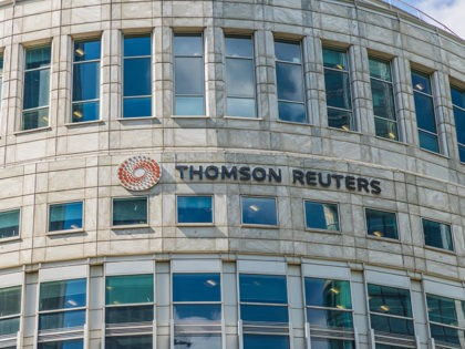 Canary Wharf London. 23 May 2019. A view of the Thomson Reuters office in canary wharf in London