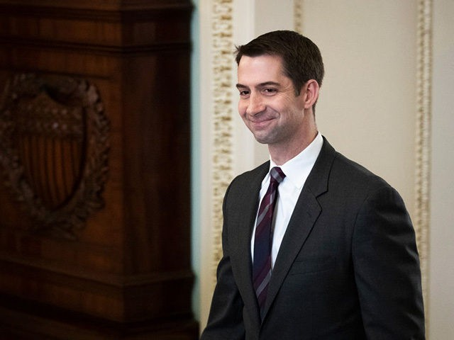 WASHINGTON, DC - JANUARY 21: Sen. Tom Cotton (R-AR) walks to the Senate floor for the start of impeachment trial proceedings at the U.S. Capitol on January 21, 2020 in Washington, DC. The Senate impeachment trial of U.S. President Donald Trump resumes on Tuesday. (Photo by Drew Angerer/Getty Images)