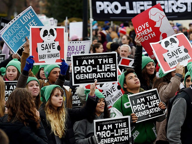 Pro-life activists demonstrate in front of the the US Supreme Court during the 47th annual March for Life on January 24, 2020 in Washington, DC. - Activists gathered in the nation's capital for the annual event to mark the anniversary of the Supreme Court Roe v. Wade ruling that legalized …