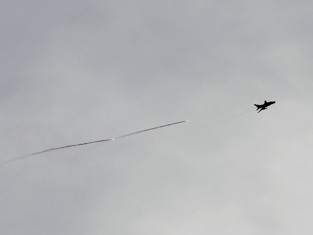 A Syrian air force fighter jet flies above the village of al-Nayrab, about 14 kilometres southeast of the city of Idlib in the northwestern Idlib province on February 3, 2020. (Photo by Omar HAJ KADOUR / AFP) (Photo by OMAR HAJ KADOUR/AFP via Getty Images)