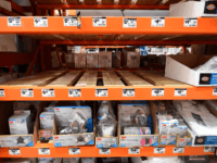 Empty shelves for N95 masks are seen at a Home Depot store in Alhambra, California on February 4, 2020. - As the coronavirus outbreak spreads, fueling rumors and misinformation, a petition to cancel all classes in one US school district for fear of the virus has garnered nearly 14,000 signatures. …