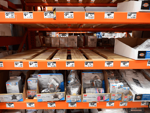 Empty shelves for N95 masks are seen at a Home Depot store in Alhambra, California on February 4, 2020. - As the coronavirus outbreak spreads, fueling rumors and misinformation, a petition to cancel all classes in one US school district for fear of the virus has garnered nearly 14,000 signatures. The online petition posted on Change.org urges the Alhambra Unified School District located east of Los Angeles and with a heavily Asian population, to basically shut down until the outbreak is over. School district officials, however, have dismissed the petition as a bid to whip up hysteria over the deadly outbreak that has killed hundreds in China. (Photo by Frederic J. BROWN / AFP) (Photo by FREDERIC J. BROWN/AFP via Getty Images)