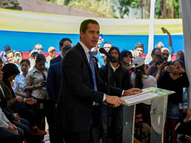 Venezuelan opposition leader and self-proclaimed acting president Juan Guaido speaks during a meeting with union representatives at the Venezuelan Medical Federation, in Caracas, on February 20, 2020. (Photo by Federico PARRA / AFP) (Photo by FEDERICO PARRA/AFP via Getty Images)