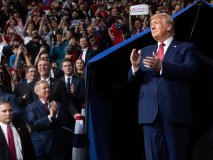 US President Donald Trump arrives to a Keep America Great campaign rally at the North Charleston Coliseum in North Charleston, South Carolina, February 28, 2020. (Photo by SAUL LOEB / AFP) (Photo by SAUL LOEB/AFP via Getty Images)