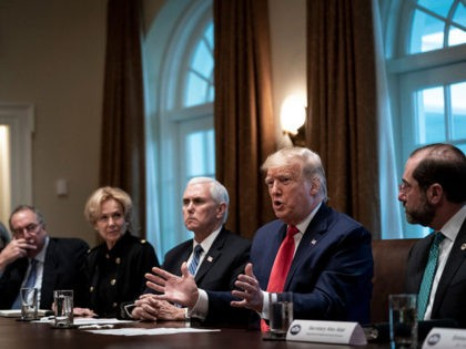 WASHINGTON, DC - MARCH 02: U.S. President Donald Trump (2nd from R) leads a meeting with the White House Coronavirus Task Force and pharmaceutical executives in Cabinet Room of the White House on March 2, 2020 in Washington, DC. Also pictured, from L to R, Dr. Anne Schuchat, Principal Deputy …