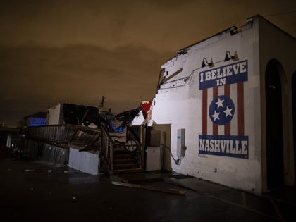 NASHVILLE, TN - MARCH 03: General view of a mural on heavily damaged The Basement East in the East Nashville neighborhood on March 3, 2020 in Nashville, Tennessee. A tornado passed through Nashville just after midnight leaving a wake of damage in its path including two people killed in East …