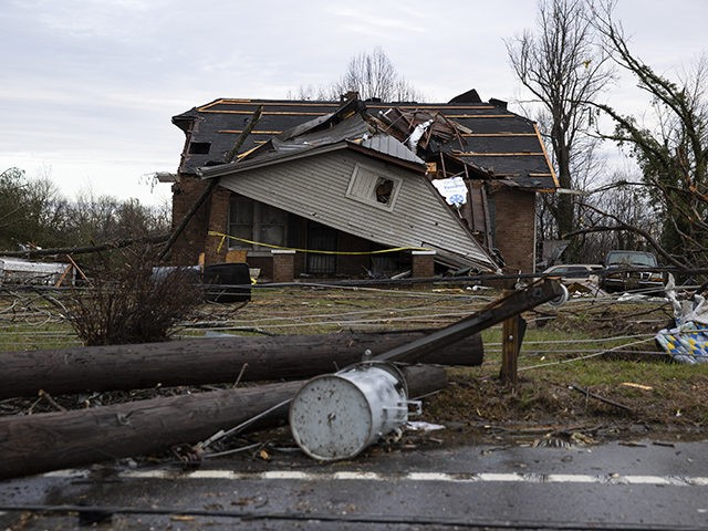 COOKEVILLE, TN - MARCH 03: A home is shown destroyed by high winds from one of several tornadoes that tore through the state overnight on March 3, 2020 in Cookeville, Tennessee. At least 19 people were killed and scores more injured in storms across the state that caused severe damage …
