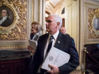 WASHINGTON, DC - MARCH 03: U.S. Vice President Mike Pence walks through the U.S. Capitol ahead of a briefing for senators on the coronavirus at the weekly caucus luncheon on March 3, 2020 in Washington, DC. (Photo by Sarah Silbiger/Getty Images)
