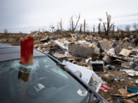 A view of wreckage left behind in the tornado's path through a residential area on March 4, 2020 in Cookeville, Tennessee. A tornado passed through the Nashville area early Tuesday morning which left Putnam County with 18 killed and 38 unaccounted for. (Photo by Brett Carlsen/Getty Images)