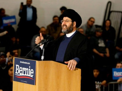 Imam Al-Hasan Qazwini from the Islamic Institute of America, speaks during a campaign rally for Democratic presidential hopeful Bernie Sanders at Salina Intermediate School in Dearborn, Michigan, on March 7, 2020. (Photo by JEFF KOWALSKY / AFP) (Photo by JEFF KOWALSKY/AFP via Getty Images)