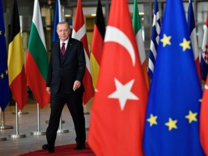 Turkish President Recep Tayyip Erdogan arrives before a meeting with European Commission President and EU Council President at the EU headquarters in Brussels on March 9, 2020. (Photo by JOHN THYS / AFP) (Photo by JOHN THYS/AFP via Getty Images)
