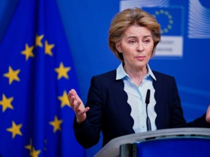 European Commission President Ursula von der Leyen speaks during a press statement at the Berlaymont building in Brussels on March 10, 2020. (Photo by Kenzo TRIBOUILLARD / AFP) (Photo by KENZO TRIBOUILLARD/AFP via Getty Images)