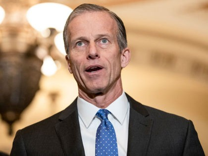 WASHINGTON, DC - MARCH 10: Senate Majority Whip John Thune (R-SD) speaks to reporters following the Senate Republican policy luncheon which both President Donald Trump and Vice President Mike Pence attended on March 10, 2020 in Washington, DC. Lawmakers focused on the spread of the coronavirus and the state of …
