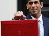 Britain's Chancellor of the Exchequer Rishi Sunak poses for pictures with the Budget Box as he leaves 11 Downing Street on March 11, 2020 ahead of the announcement of Britain's first post-Brexit budget. - Britain unveils its first post-Brexit budget on March 11, with all eyes on emergency government measures …