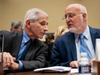 WASHINGTON, DC - MARCH 11: (L-R) Dr. Anthony Fauci, Director, National Institute of Allergy and Infectious Diseases at National Institutes of Health, and Dr. Robert Redfield, director of the Centers for Disease Control and Prevention (CDC), talk with each other at the start of a House Oversight And Reform Committee …