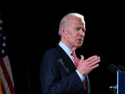WILMINGTON, DE - MARCH 12: Democratic presidential candidate former Vice President Joe Biden delivers remarks about the coronavirus outbreak, at the Hotel Du Pont March 12, 2020 in Wilmington, Delaware. Health officials say 11,000 people have been tested for the Coronavirus (COVID-19) in the U.S. (Photo by Drew Angerer/Getty Images)