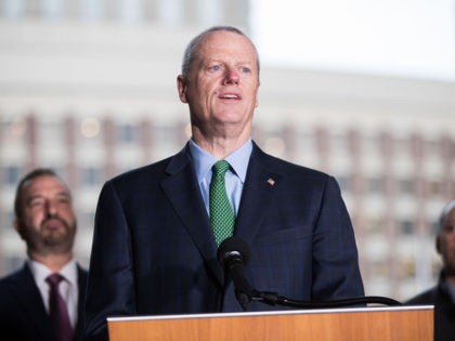 BOSTON, MA - MARCH 13: Massachusetts Governor Charlie Baker speaks at a press conference announcing the postponement of the Boston Marathon to September 15th on March 13, 2020 in Boston, Massachusetts. The postponement is due to concerns over the possible spread of the coronavirus (COVID-19). (Photo by Scott Eisen/Getty Images)