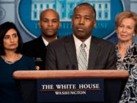 US Secretary of Housing and Urban Development Ben Carson speaks during a press briefing about the Coronavirus (COVID-19) in the Brady Press Briefing Room at the White House in Washington, DC, March 14, 2020. (Photo by JIM WATSON / AFP) (Photo by JIM WATSON/AFP via Getty Images)