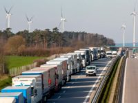 A 10 km queue of trucks stuck on the A12 motorway near the Polish-German border from outside the eastern German town of Frankfurt (Oder) on March 16, 2020, as measures are taken to slow down the spread of the novel coronavirus. - Polish Prime Minister Mateusz Morawiecki said Poland's borders …