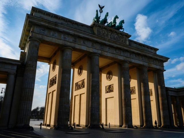 View of Berlin's Brandenburg Gate, devoid of tourists, due to the COVID-19 coronavirus, on March 16, 2020. (Photo by John MACDOUGALL / AFP) (Photo by JOHN MACDOUGALL/AFP via Getty Images)