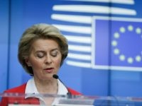 President of European Commission, Ursula Von der Leyen, gives a press conference after EU leaders' video conference on COVID-19, caused by the novel coronavirus, at the European Council building in Brussels, on March 17, 2020. (Photo by Aris Oikonomou / AFP) (Photo by ARIS OIKONOMOU/AFP via Getty Images)