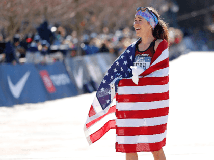 Molly Seidel reacts after finishing second in the Women's U.S. Olympic marathon team trials on February 29, 2020 in Atlanta, Georgia. (Photo by Kevin C. Cox/Getty Images)