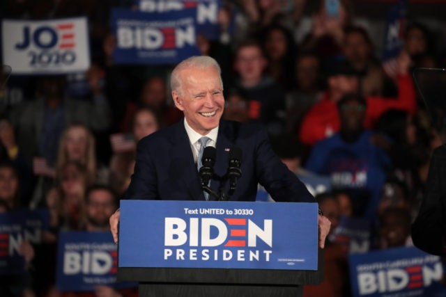 COLUMBIA, SOUTH CAROLINA - FEBRUARY 29: Democratic presidential candidate former Vice President Joe Biden celebrates with his supporters after declaring victory at an election-night rally at the University of South Carolina Volleyball Center on February 29, 2020 in Columbia, South Carolina. The next big contest for the Democratic candidates will …