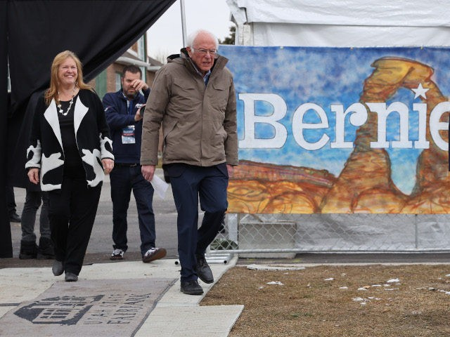 SALT LAKE CITY, UTAH - MARCH 02: Democratic presidential candidate Sen. Bernie Sanders (I-VT) (R) and his wife Jane O'Meara Sanders arrive for a campaign rally in the Central Mall of the Utah State Fair Park March 02, 2020 in Salt Lake City, Utah. Sanders is campaigning in Utah and …